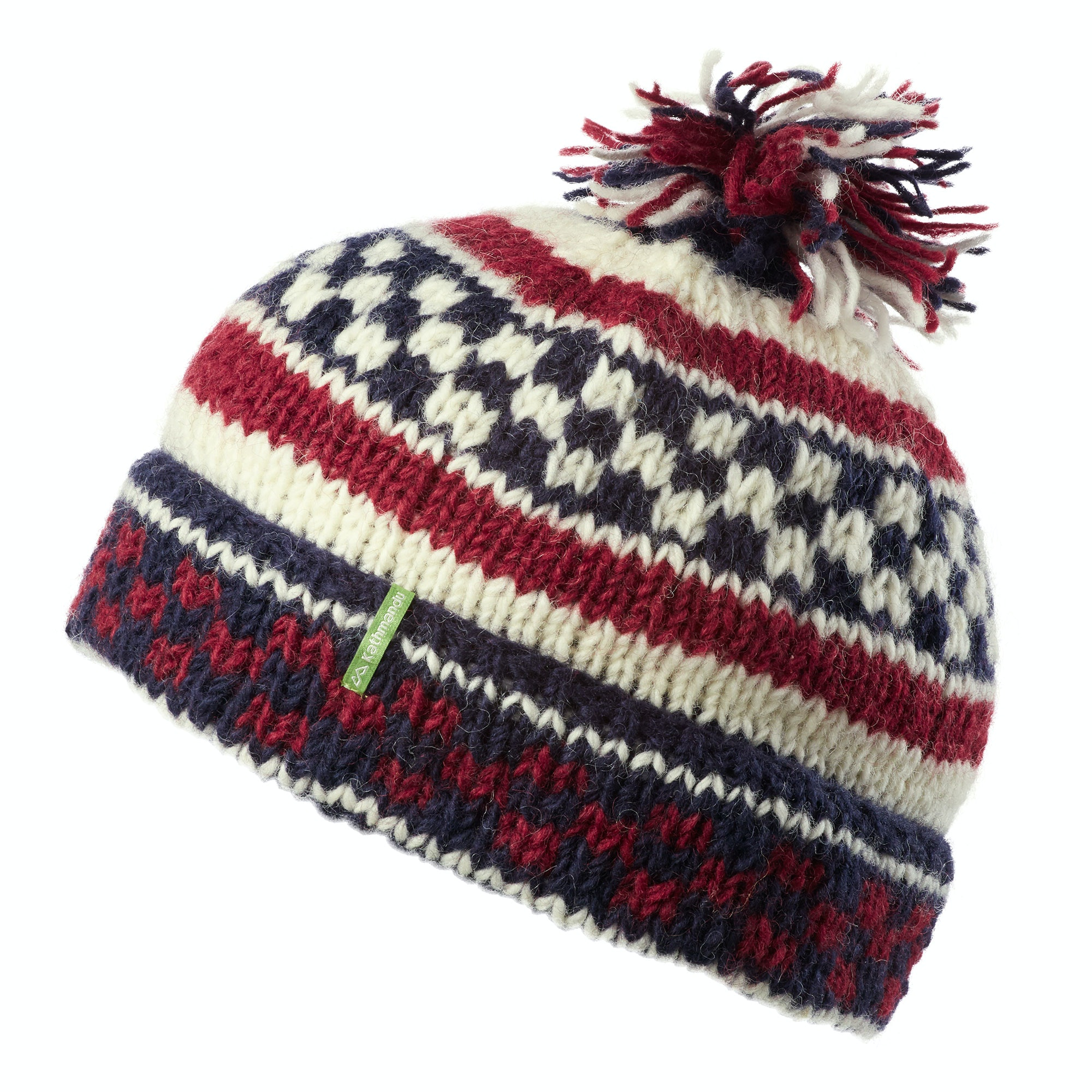 99995fb9233 Kathmandu Men s Women s Khusi Hand Knitted Wool Pom Pom Winter Beanie Hat