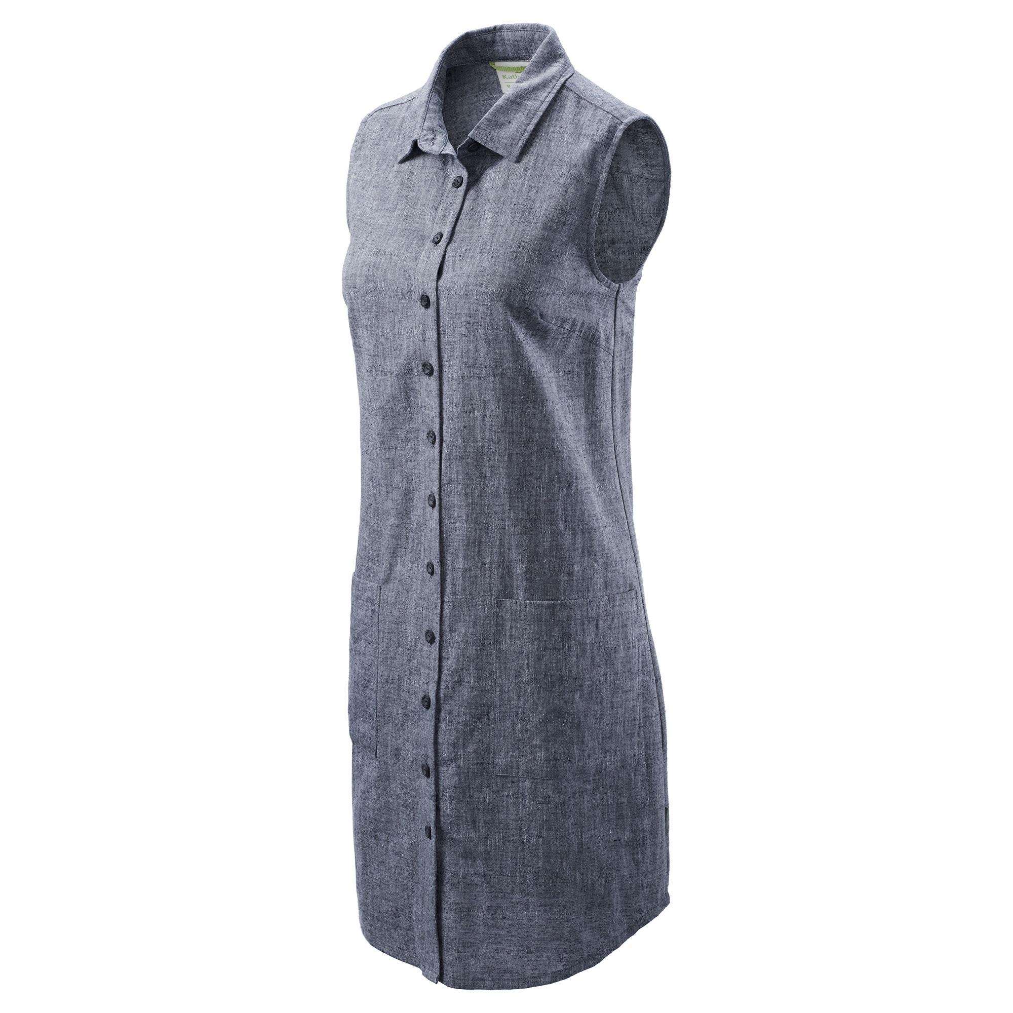 NEW-Kathmandu-RFIDtech-Women-Organic-Cotton-Hemp-Sleeveless-Button-Down-A-Line thumbnail 8